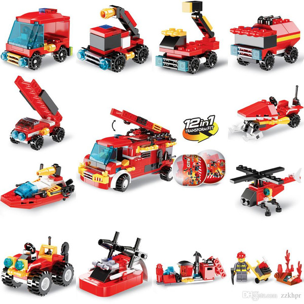 top popular Fire truck building blocks twisted eggs children's educational enlightenment assembling small particles building blocks toy gifts 2021