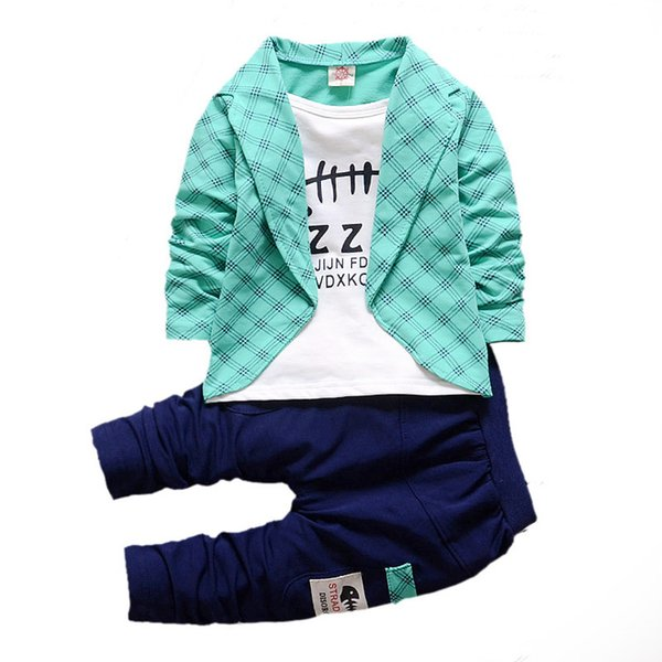 Baby Boys Girls Cotton Clothes Plaid Suits Spring Autumn Toddler Sets Children T-shirt Pants 2pcs/sets Kids Tracksuits For 1-5 Y