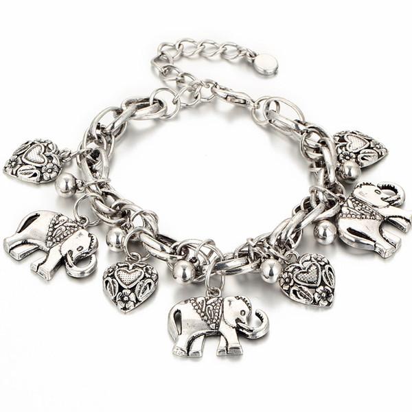 Silver Gold 2 Colors Elephant Animal Charm Bracelet for Women Men Lover Heart Link Bracelet Bangle Anklet Best Gifts Fashion Jewelry
