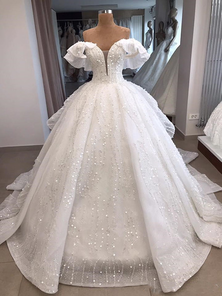 Real Photo White Off Shoulder Ball Gown Organza zuhair murad Vintage Luxury Wedding Dress Reception Bridal Gowns 2019 Bling Long Train H052
