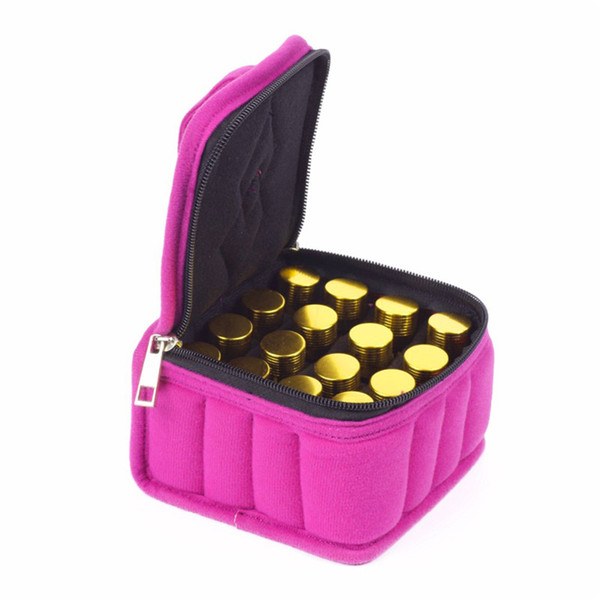 Wholesale- 16 Lattices Cosmetic Bags 5/10 /15ML Essential Oils Bag Zipper Oil Carrying Case Cosmetic Storage Box Make Up Bags RD877420