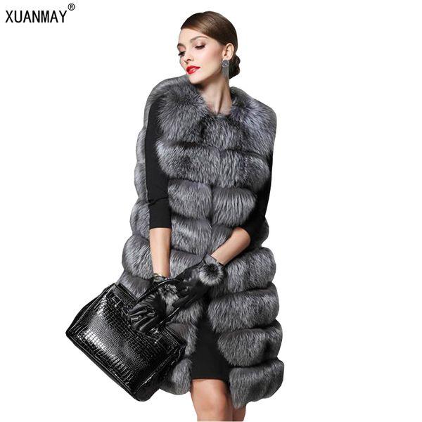 Autumn and winter new women imitation fur coat imitation fox fur vest warm large size coat long hair vest