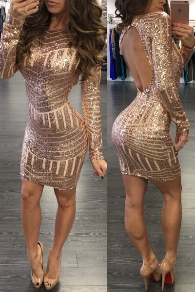 2019 African Autumn Design Long Sleeve Sexy Sequin Dress Cute Lady Tight Dress Female Party Dress Free Shipping