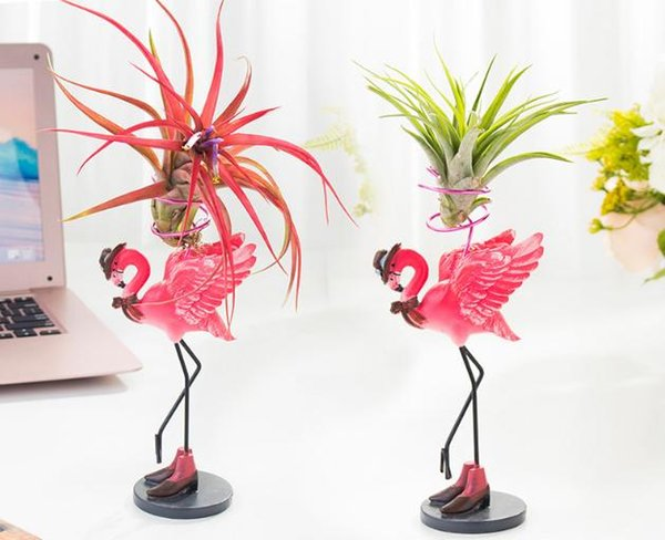 Air Plant Container, Tabletop Planter, Tillandsia Planter, Pink Flamingo Holder for Indoor Garden, Office Desk, Home Décor