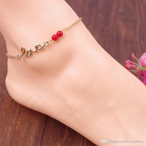 Tipo de amor Grano rojo Cadena plateada de metal de color plateado o dorado para pie de mujer Tobilleras