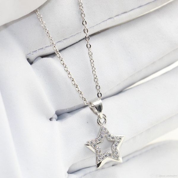 Double Star Necklace Original Desgin Luxury Jewelry 925 Sterling Silver Pave White Sapphire CZ Diamond Party Promise Pendant For Women Gift