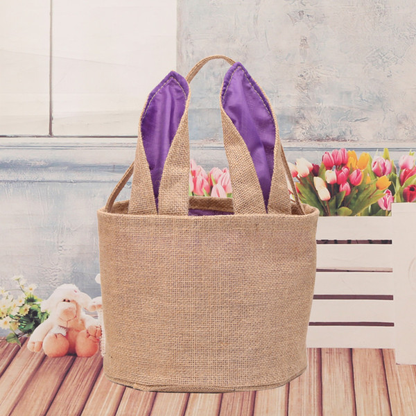 Burlap Barrel Shaped Cylindric Rabbit Bags DIY Easter Baskets Bunny Storage Bag Jute Rabbit Ears Basket Lovely Rabbit Ears Handbag Tote