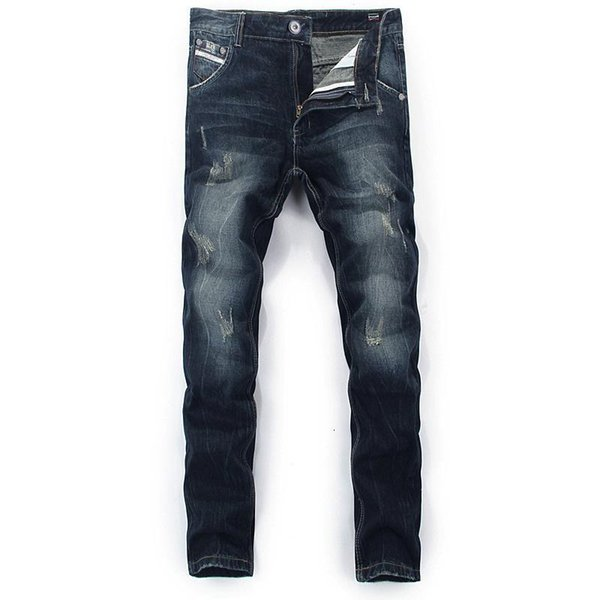 Fashion Classical Mens Jeans Dark Color Retro Vintage Wash Straight Simple Jeans For Men Wild Denim Pants Brand Ripped