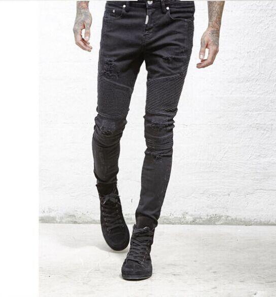Рип Джин Мужские рваные джинсы SlimFit Джинсовые брюки Узкие брюки Джинсовые брюки Torn Denim Повседневные мужские хип-хоп джинсы