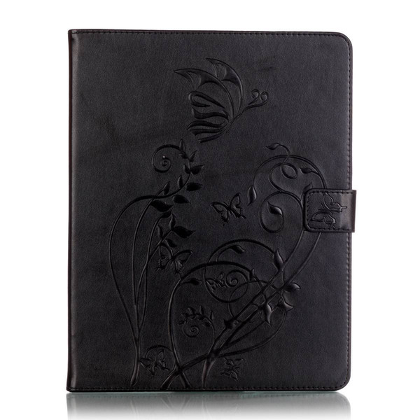 1 Pc/Lot For Apple iPad Air 2 butterfly embossed flat leather case For iPad 6 flip cover card holder + Pen