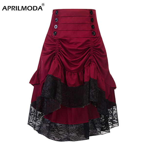 Costumes Steampunk Gothic Skirt Lace Women Clothing High Low Ruffle Party Skirts Lolita Red Medieval Victorian Gothic Punk Skirt MX190717