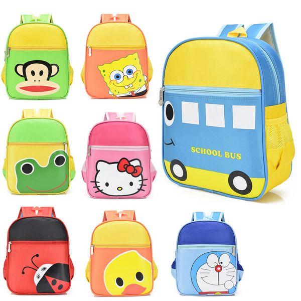 Cartoon School bus backpack Kindergaten Canvas school bag Hello kitty Ladybug Monkey Doreamon bagpack baby girl boy children cute bookbag