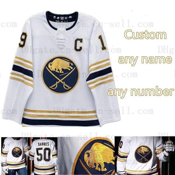 Buffalo Sabres 50E Golded Jersey Carter Hutton Jack Eichel Sam Reinhart Jeff Skinner Rasmus Dahlin Hockey Chandails Nom Tous nous les coordonnées de