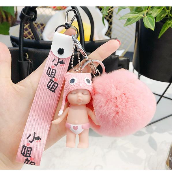 Nouvelle arrivée bébé poupée porte-clés pour homme femmes décoration robe voiture pendentif en caoutchouc silicone matériau porte-clés anneau en alliage anneau Drop-shipping