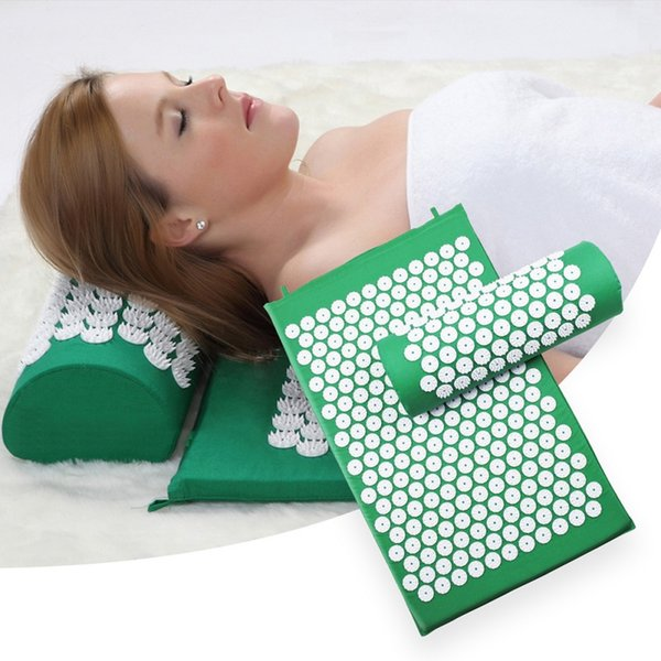 H Yoga Mats Pillow set Massager 4 Color Cushion Acupuncture Relieve Stress Back Pain Acupressure Pad Massage Rose Spike