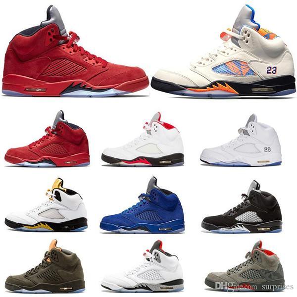 Nike Air Jordan Retro Shoes De Baloncesto Baratos 2019 5 5s Ante Azul VUELO INTERNACIONAL Juego De Vuelo Zapato Para Hombre Productos Calientes 5s