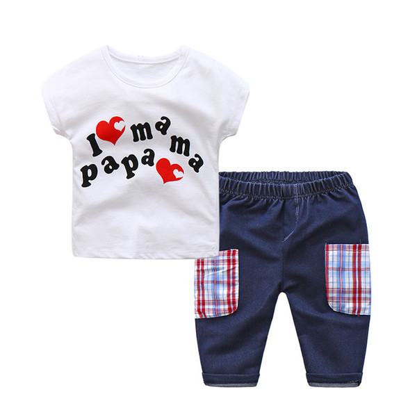 good quality baby boys clothing set infant kids fashion clothes suits summer letter print white t-shirt +pants For todder boy