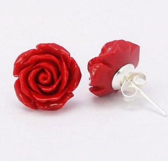 FREE SHIPPING + Fashion Jewelry 12mm Coral Red Rose Flower 925 Sterling Silver Earrings
