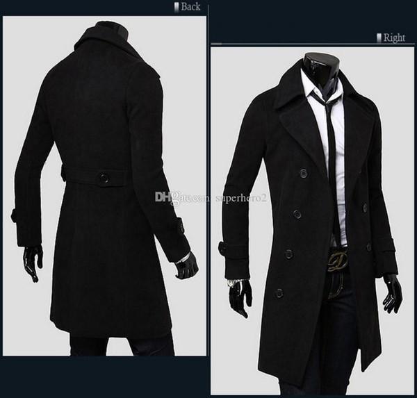 NEW Men Slim long double-breasted Woolen Trench Coats windbreaker Men thicken warm coat jacket outwear overcoat winter slim clothing NEW HOU