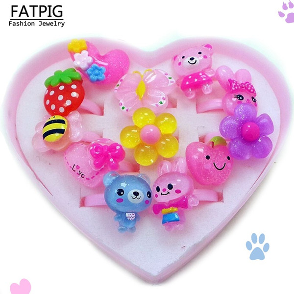 12pcs/set Mix Animals Flower Heart Assorted Baby Kids Girl Children's Cartoon Rings With Display Box For Christmas Gift