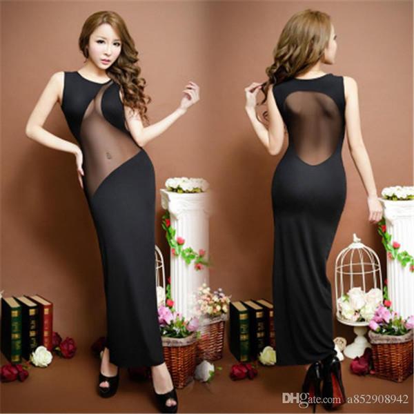 best selling Popular style long night lingerie Korean version sexual dress long skirt seductive package dress nightclub long skirt slim