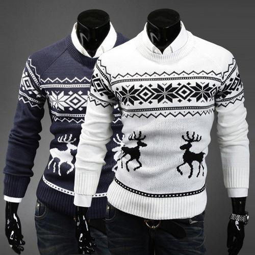 Fashion Men's Sweater 2018 Autumn Men's Thin Sweater Slim Fawn Print Pullover Sweater Deer Print Casual Clothing White Grey Navy Size M-2XL