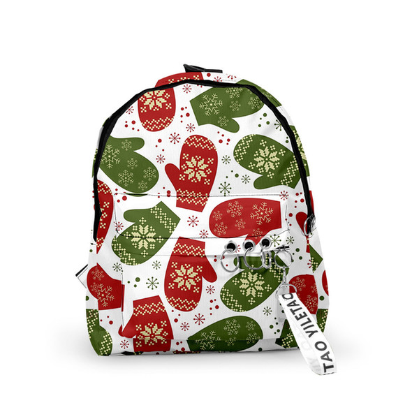 best selling Mens Womens New Christmas Backpack Bags Contrast Color 3D Printing Backpack Lightweight College Style Cartoon Oxford Cloth Male Female Bags