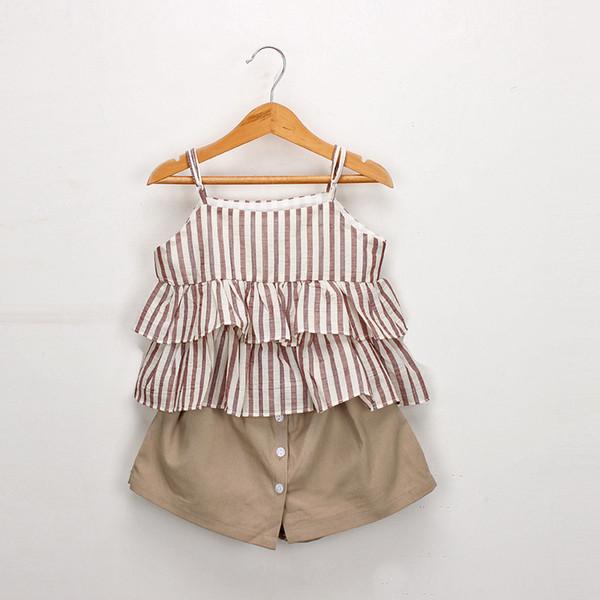 Summer girls princess outfits kids stripe double falbala suspender dress shirt+single breasted skirt shorts 2pcs sets children clothing F774