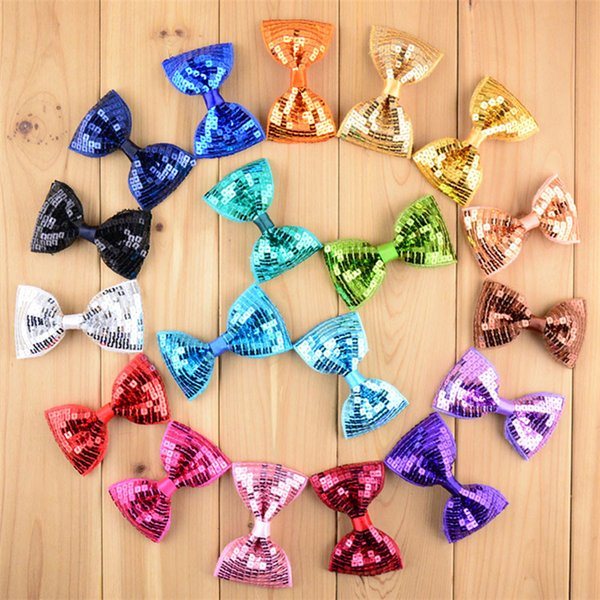 New Christmas 19 Colors Embroidery Sequin Bows WITH CLIP For Baby Girls Christmas Gifts Kids Hair DIY Accessories DHL FJ432