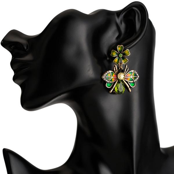 Симпатичные Горный Хрусталь Пчелы Серьги Геометрические Сплава Позолоченные Красочные Эмаль Цветок Серьги Женщин Мода Ювелирные Изделия Аксессуары Оптовая