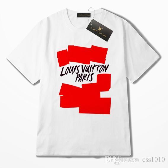19ss Luxuoso Fra Paris Marca L Tshirt de Manga Curta Crewneck Tee Respirável Homens Mulheres Amantes Da Moda Ao Ar Livre Streetwear V T-shirt