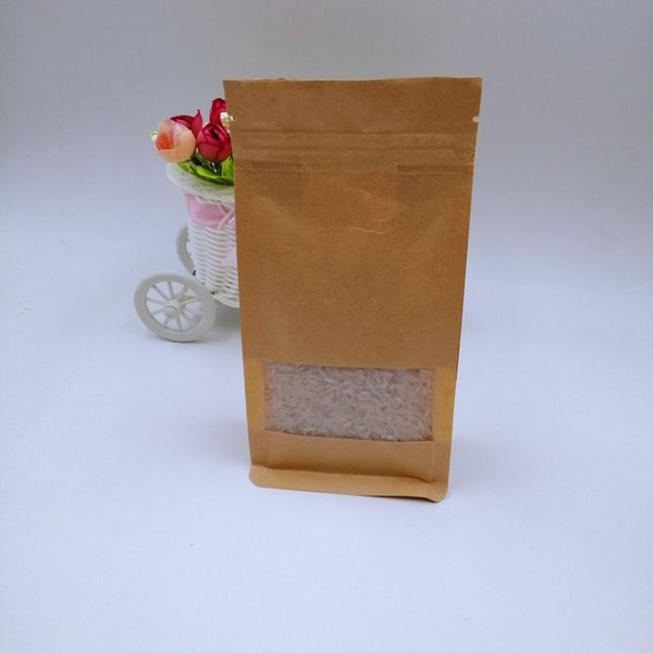 20x30x8cm 50pcs White/Brown Kraft Paper Bag For Gifts Christmas Food Tea Candy Zip Lock Kraft Paper Bag With Window Stand Pouch