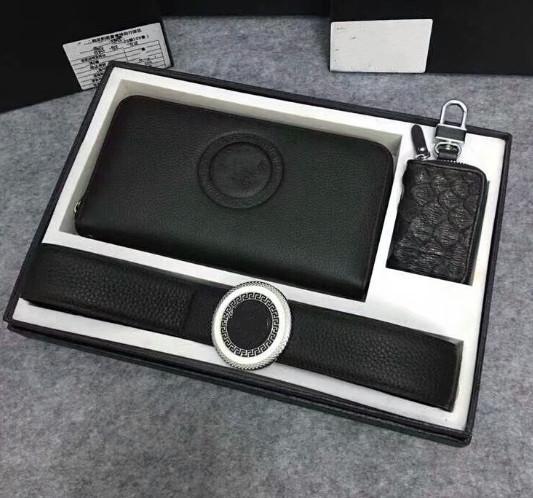 2009 Medusa 2-piece combination leather wallet men's fashion belt, gift car key bag 1-3