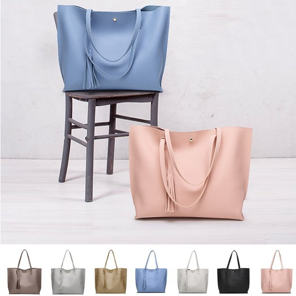 Simple Fashion Women Handbags 2018 Leather Solid Tassel Pendant Large Capacity Korean Ladies Shopping Travel Hand Bag women
