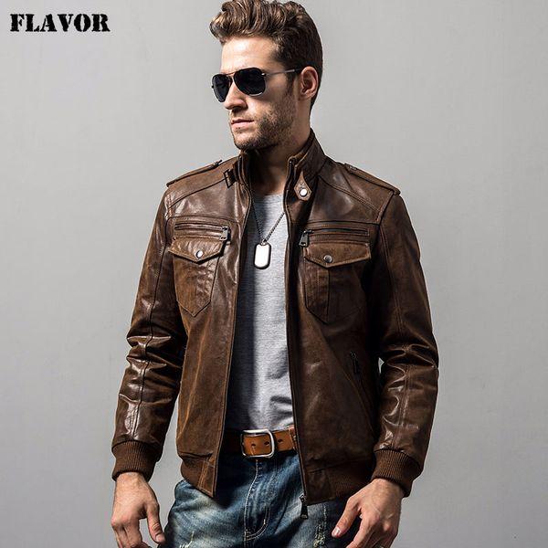 Men's pigskin motorcycle real leather jacket padding cotton winter warm coat male Genuine Leather jacket CJ191128