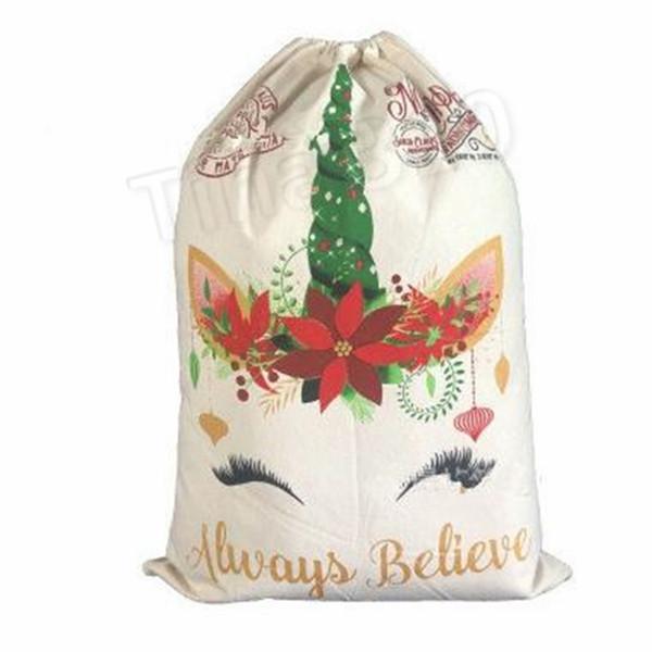 Bolsa de regalo de Navidad festiva Lindas bolsas de cordón Unicornio de lona Saco de Santa 2 Estilo Buena calidad Adorno de decoración de Navidad Santa 5186