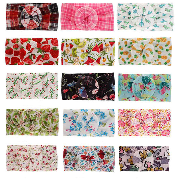 Bohemia designer headband children Knot Ball Donut Hair band fashion plaid floral fruit Flamingo print Headwear kids Hair Accessories B11