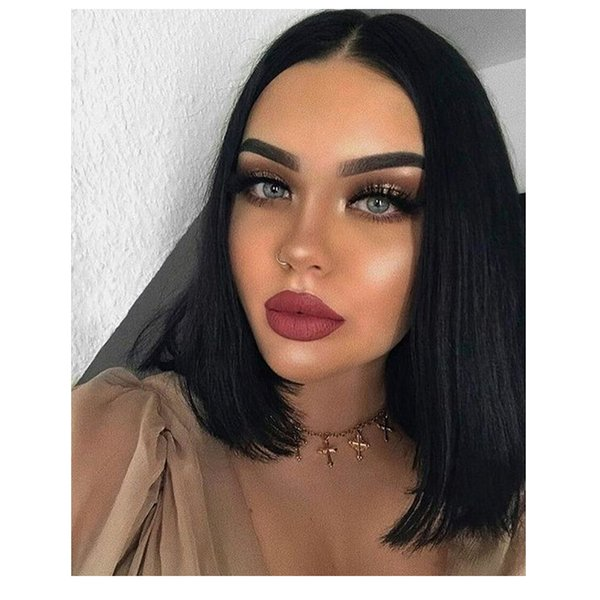 hot hairstyle short bob straight wig brazilian hair simulation human hair bob straight wig with middle part for lady