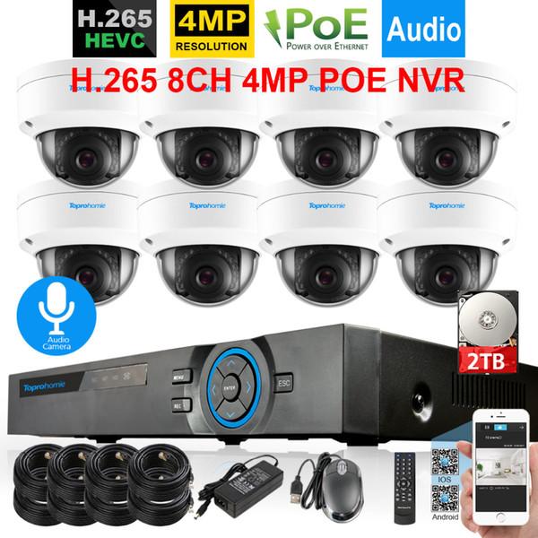 H.265 CCTV System 8CH 4MP POE NVR 4MP IP66 Vandalproof Dome Security Onvif IP Camera Audio Record Sound Video Surveillance kit