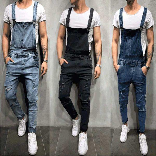 Moda uomo strappato jeans pagliaccetti casual con tute cintura foro denim salopette bici Jean spedizione gratuita