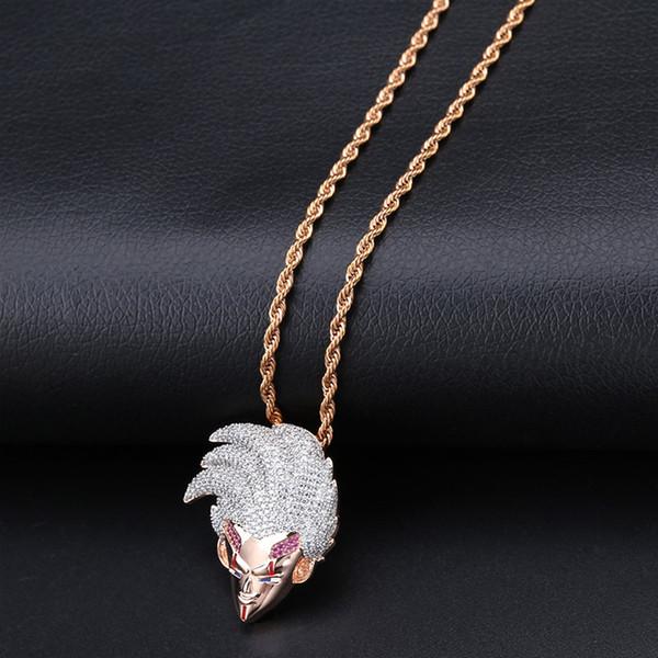 Hochwertige Hip Hop Schmuck Iced Out Kette Dragon Ball Super Baby Vegeta Anhänger Kubikzircon Personalisierte Halsketten