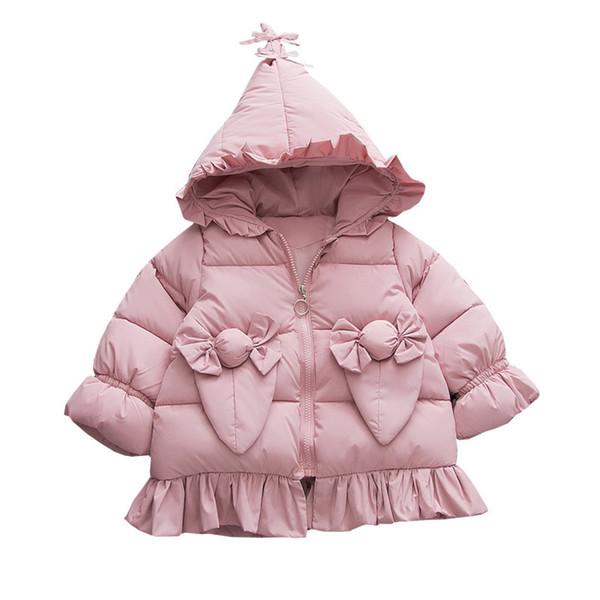 Winter Keep Warm Baby Girls Children Infants Hooded Cotton Sweet Candy Pocket Thicken Jacket Coat Outwear