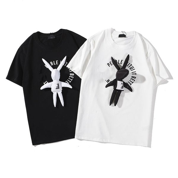 Fendis shirts fashion mens shirts 19ss trend brand t shirts rabbit doll pendant t-shirt hot selling popular shirt cotton quality wild tee