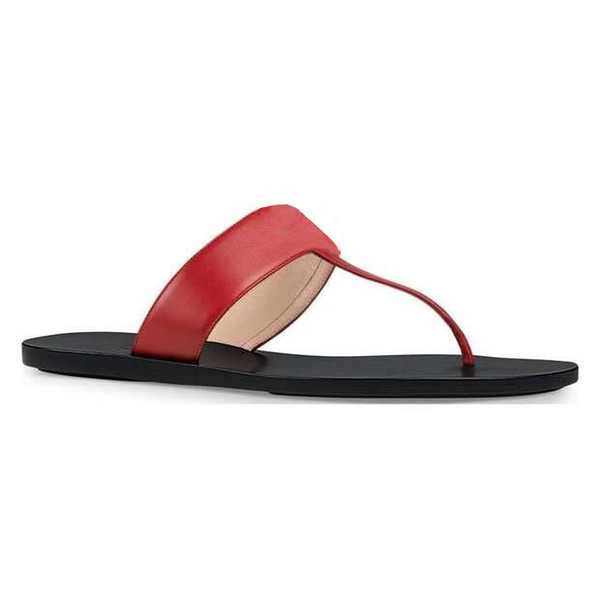 Marmont T-Strap Sandal Leather Chic Thong Sandal With Doubless G Flat Leather Upper And Lining/Rubber Sole Flip Flop G001