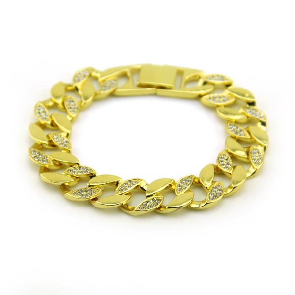 Pulsera De Oro Plateado Hip Hop Cristales Rhinestone enlace cadenas Brazalete Joyería