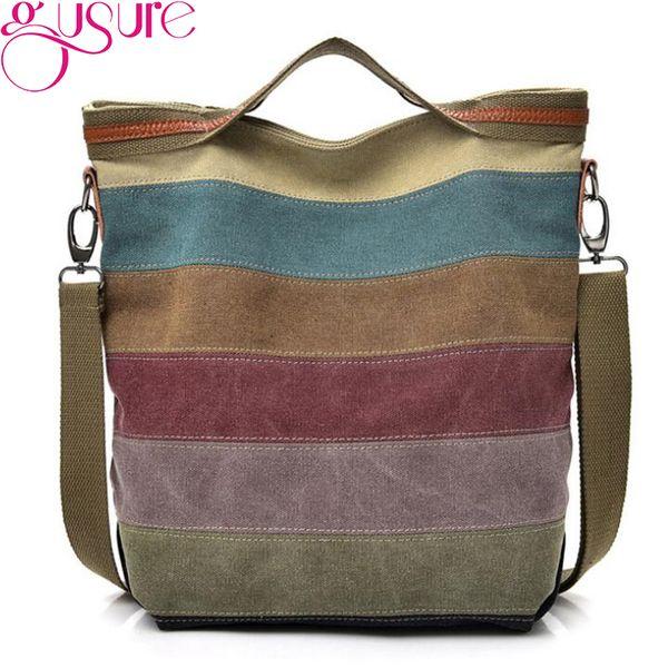 4307f69ee01a Gusure Casual Women Canvas Crossbody Shoulder Bag Female Striped Handbag  Tote Bag Medium Size Messenger Bags For Teenagers Man Bags Crossbody Purses  ...