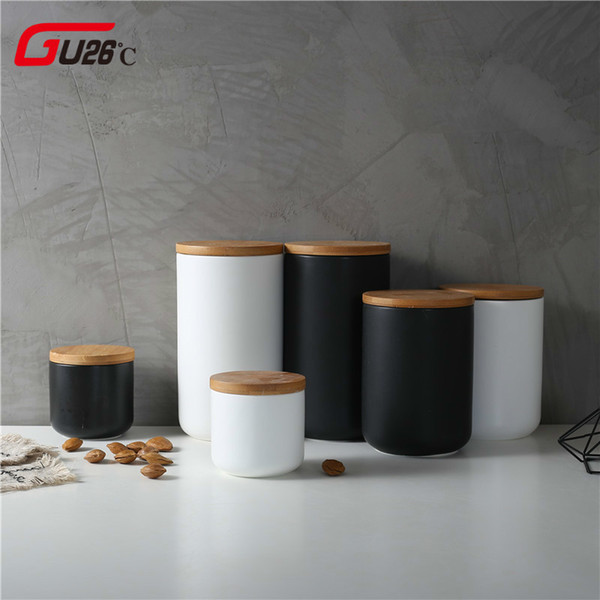 260ML/800ML/1000ML Sealed Ceramic Storage Jar For Spices Tank Container For Eating With Lid Bottle Coffee Caddy Kitchen