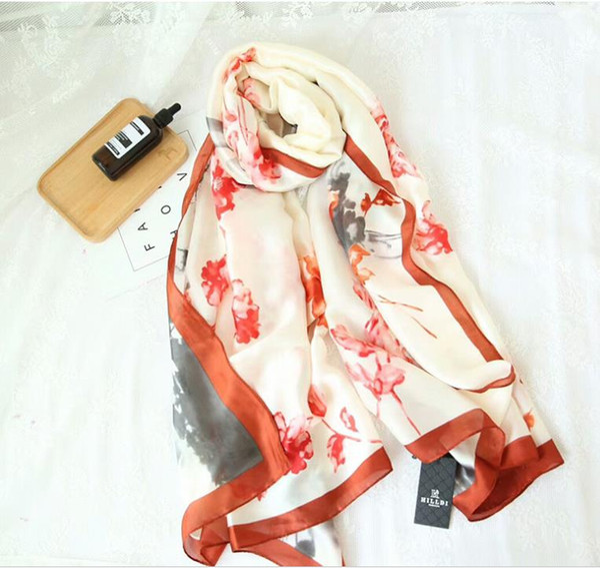 Chinese wind ink flower new silk satin scarf