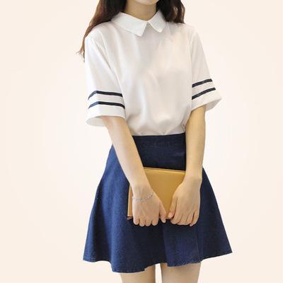 Short Sleeves Japanese School Uniform Girl Sailor Dress Red/Tibetan Blue Plaid Skirt Uniformes Japonais Korean Costumes For Girl C18122701