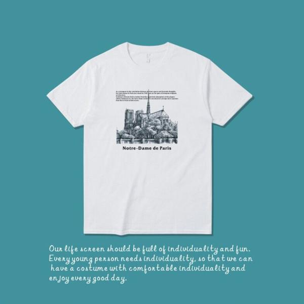 2019 hot Notre-Dame de Paris Summer Street wear Europe Paris Fashion women Men High Quality Cotton Tshirt CasualTee T-shirt S-3XL